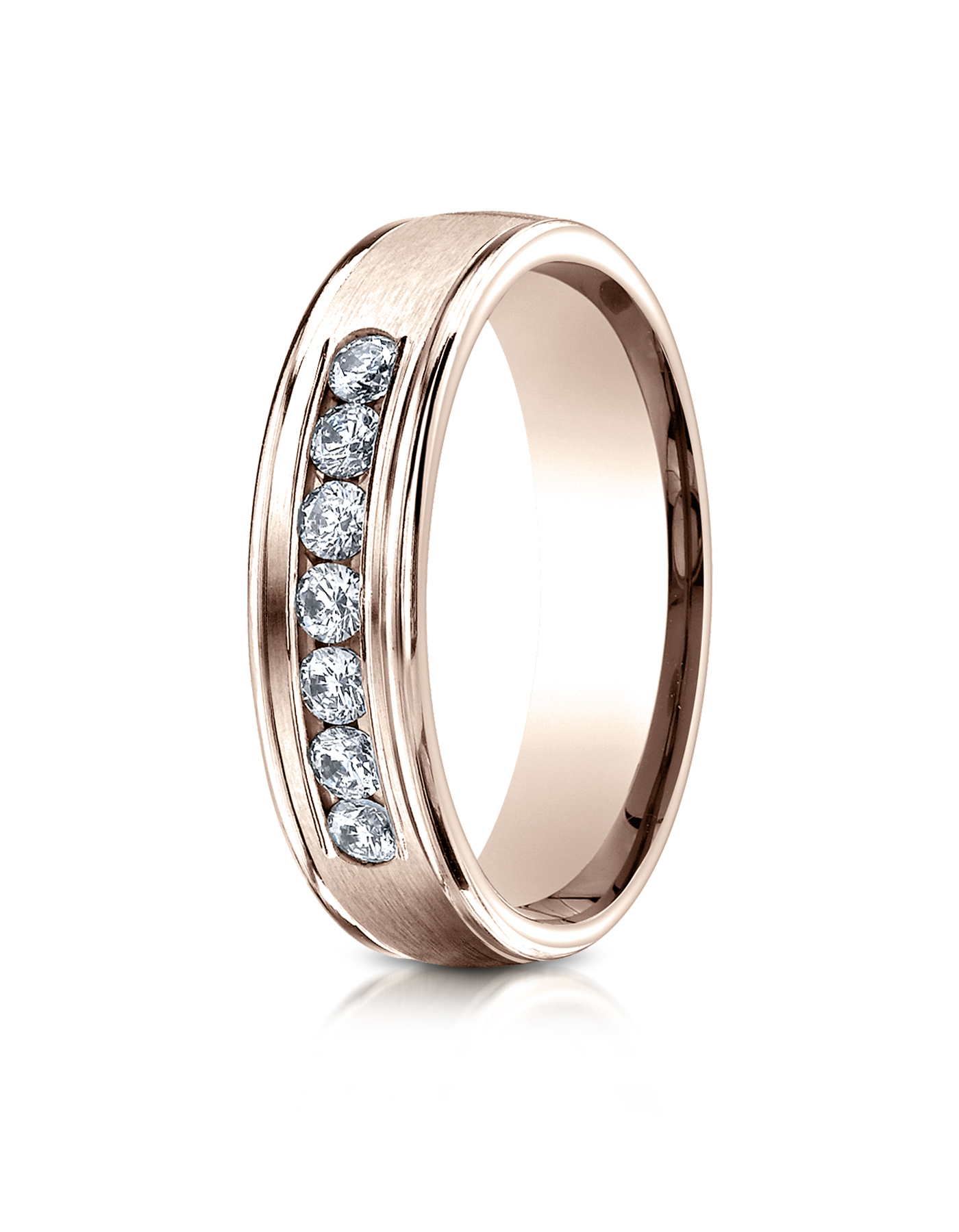 14k Rose Gold 6mm fort Fit Channel Set 7 Stone Diamond Eternity